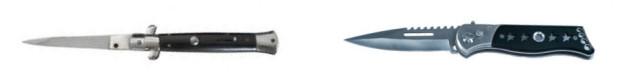 Gegenüberstellung Stiletto Springmesser und modernes Springmesser